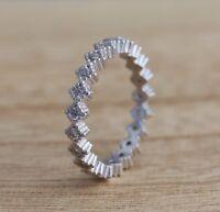 925 Sterling Silver Full Eternity Stacking Zig Zag Design CZ Band Ring I-P Sizes