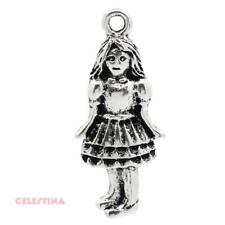 5 Antique Silver Alice in Wonderland Charms - Alice Charms - Mad Hatter 26mm