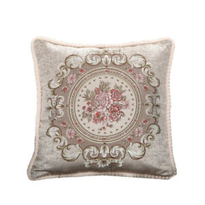 Floral Embroidery Throw Pillow Case Home Office Sofa Car 19'' Cushion Cover