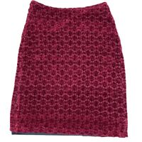 Vintage Blockout Australia Womens Maroon Ruby High Waisted Midi Skirt Size Small