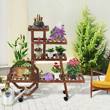 New listing Multi Tier Wooden Plant Stand Flower Display Storage Stand Rack Shelf In/Outdoor