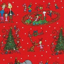 HOW THE GRINCH STOLE CHRISTMAS RED SCENIC FABRIC