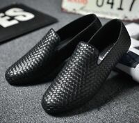Men's Fashion Casual PU Leather Shoes Woven Slip On Driving Walking Loafers NEW