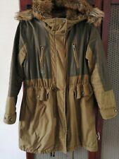 Topshop Parka Coat Jacket Waterproof Lined Faux Fur Hood UK 8 10
