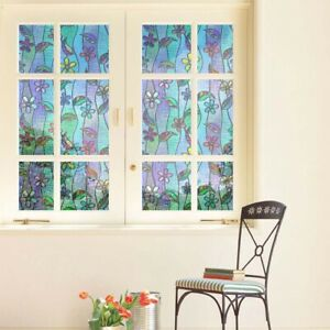 Floral Stained Glass Frosted 3D Window Door Sticker Film Privacy Bathroom Decor.