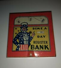 Rare vintage Uncle Sam Dime a Day Register Bank - Red Border Version - Nice!