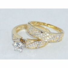 10k Yellow Gold Over Round Diamond Solitaire Wedding Bridal Engagement Ring Set