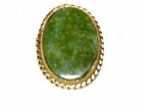 Beautiful Vintage Green Agate Stone Pin & Pendant