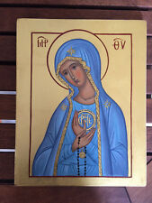 Theotokos Panagia Fatima MADE TO ORDER Handpainted Eastern Orthodox icon 22karat