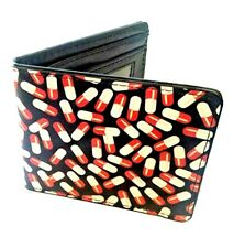 Red White Medicine Pills Buckle Down Bi-fold Wallet Durable Quality New Gift