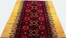 "Antique vintage Turkish handmade hand-knotted thick rug 95"" x 58""  pure wool #59"