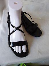 SAN MARINA sandales compensées fines lanières cuir vernis noir T 39 PARFAIT ETAT