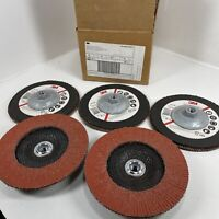 "3M 61201 Abrasive Flap Disc 947D, Type 27, 7"" in x 5/8-11"" in Grade 80 QTY (5)"