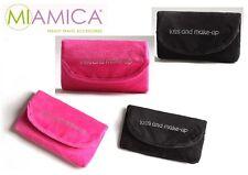 MIAMICA Rhinestone Black & Pink Velvet Folded Cosmetic Makeup Mirror Bag Case