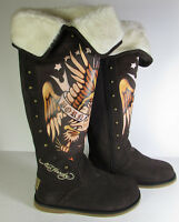 $205 Ed Hardy Womens Snowblazer Boot Shoe Tattoo Audigier Brown, US 6