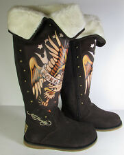 $205 Ed Hardy Womens Snowblazer Boot Shoe Tattoo Audigier Brown, US 6