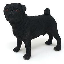 Black Pug Figurine Decorative Resin Ornament Realistic Pet Dog Figure Gift UK