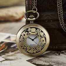 Vintage Anime Alice in Wonderland Quartz Pocket Watch Retro Necklace Chain