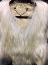 NWOT White Long Hair Goat Fur Gilet Vest Jacket Sleeveless Sm Med