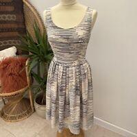 Pretty Girly Summer Dress Neutral Tones Fit & Flare Sz 6 8