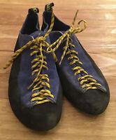 La Sportiva Cliff Men's US Size 10.5 Rock Climbing Blue Suede Lace Up Shoes