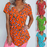 Women Leopard Printed V Neck T Shirt Ladies Casual Loose Female Tshirt Tops