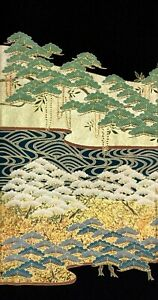 Vintage SILK Japanese Kimono TOMESODE Fabric Panel  #425