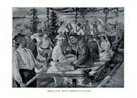 Floßfahrt auf der Isar XL Kunstdruck 1910 von Franz Guillery † München Flößer