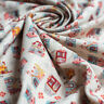 Christmas Linen Look Canvas Cotton Rich Fabric with gingerbread house print