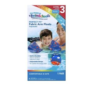 Swim School Soft Fabric Arm Floats | Adjustable 30-50 LBS Water Wings - Blue