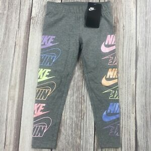 NWT Girls Youth Nike Futura Stack Carbon Heather Gray Leggings 36G722-GEH
