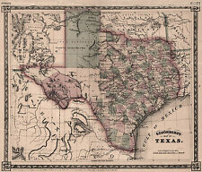 "1866 Map of TEXAS, 16""x13"" - antique Print, home decor,  Western America History"
