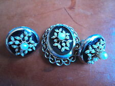 SCARCE VINTAGE CORO BROOCH & EARRINGS SET FOR REPAIR SLIGHTLY A/F
