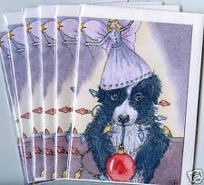 6 x Xmas cards Border Collie dog puppy humor S Alison