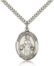 "Saint Nino De Atocha Sterling Silver Necklace Medal For Men 24"" Chain"