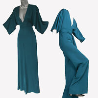ZARA Studio Duck Blue /TEAL SILKY 3/4 Sleeves Jumpsuit XS S M  SOLD OUT IN SHOPS