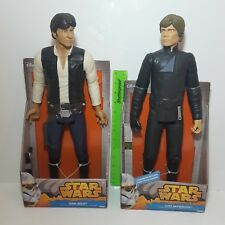 "Disney Star Wars HAN SOLO and LUKE SKYWALKER 18"" HUGE TALL MASSIVE toy figures"
