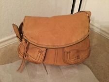 Lucky Brand Stash Brown Leather Shoulder Hand Bag Zipper Flap Top Magnetic Brass