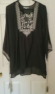 World Market Black Summer Vacation XL Embroidered Top; Night Time, Pool Coverup