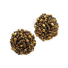 Gold Coloured Glass Round Beaded Stud Earrings Ladies Fashion Jewellery
