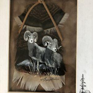 Framed Turkey Feather Painting Rocky Mountain Big Horn Sheep Judy Mergenthaler