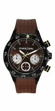 NEW Alexander Dubois 10074 Mens Alsace Watch Chronograph Brown Band Dial SS WR