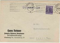 Germany Hamburg 1948 Wholesale Pumping Engines Stamps Cover to Furth Ref 32332