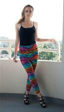 Rainbow Zebra Patterned Stretch Knit Fun Mini Skirt Leggings