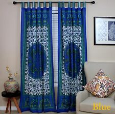 Handmade Peacock Curtain 100% Cotton Tab Top Door Panel Drape Blue 44x88 Inches