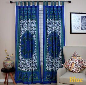 Handmade Peacock Curtain 100% Cotton Tab Top Door Panel Drape Blue 44x88 Inches