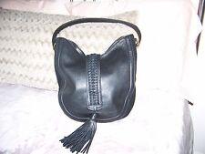 margot handbag black leather, with throw over tassel