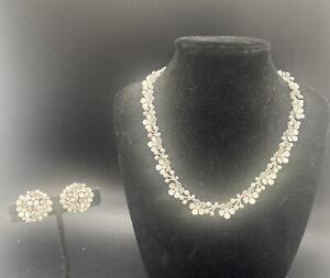 Vintage silver tone faux pearl rhinestone flower sign Trifari necklace Earrings