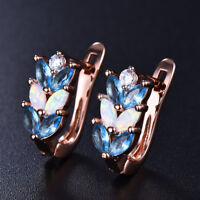 Elegant White Fire Opal&Aquamarine Leaf Wheat ears Leverback Stud Earrings Gifts