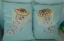 "Vintage Decorative Jellyfish Thrown Pillows 100% linen 20""x15"" - Set of two."